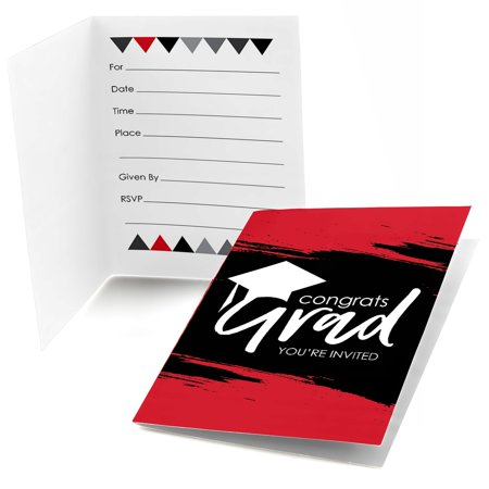 (Red Grad - Best is Yet to Come - Fill In Red Graduation Party Invitations (8 count))