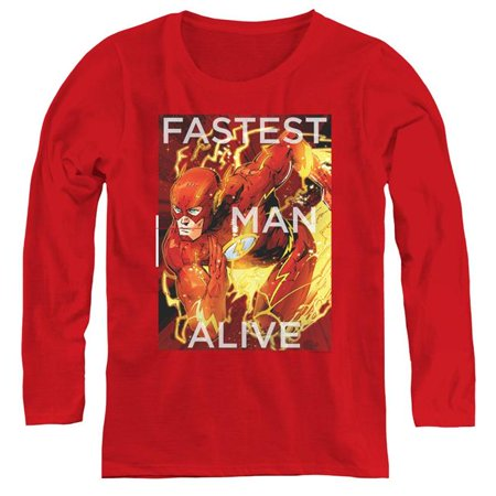 JLA & Fastest Man Alive-Womens Long Sleeve Tee, Red - Large - image 1 of 1