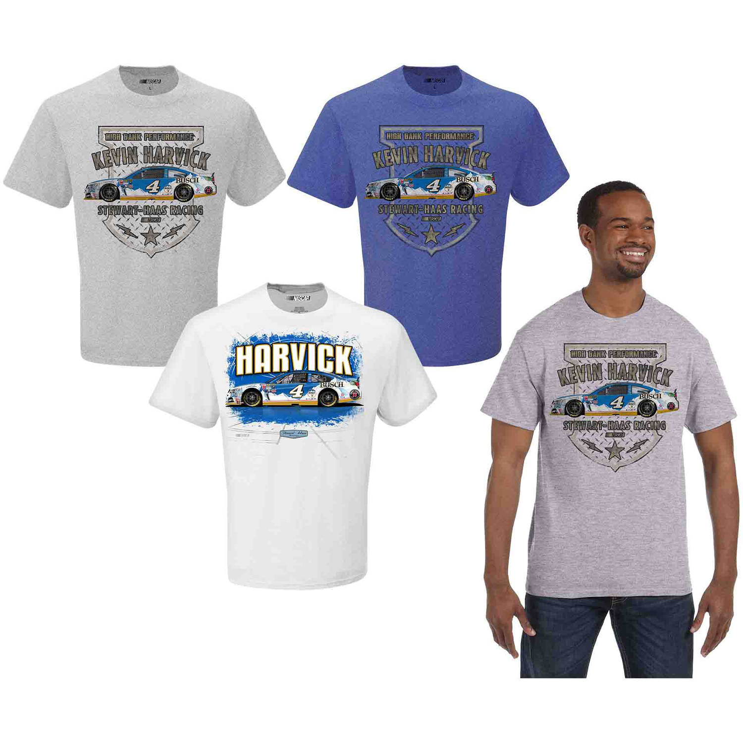 NASCAR Men's Kevin Harvick Busch 3 Pack Tee Shirts