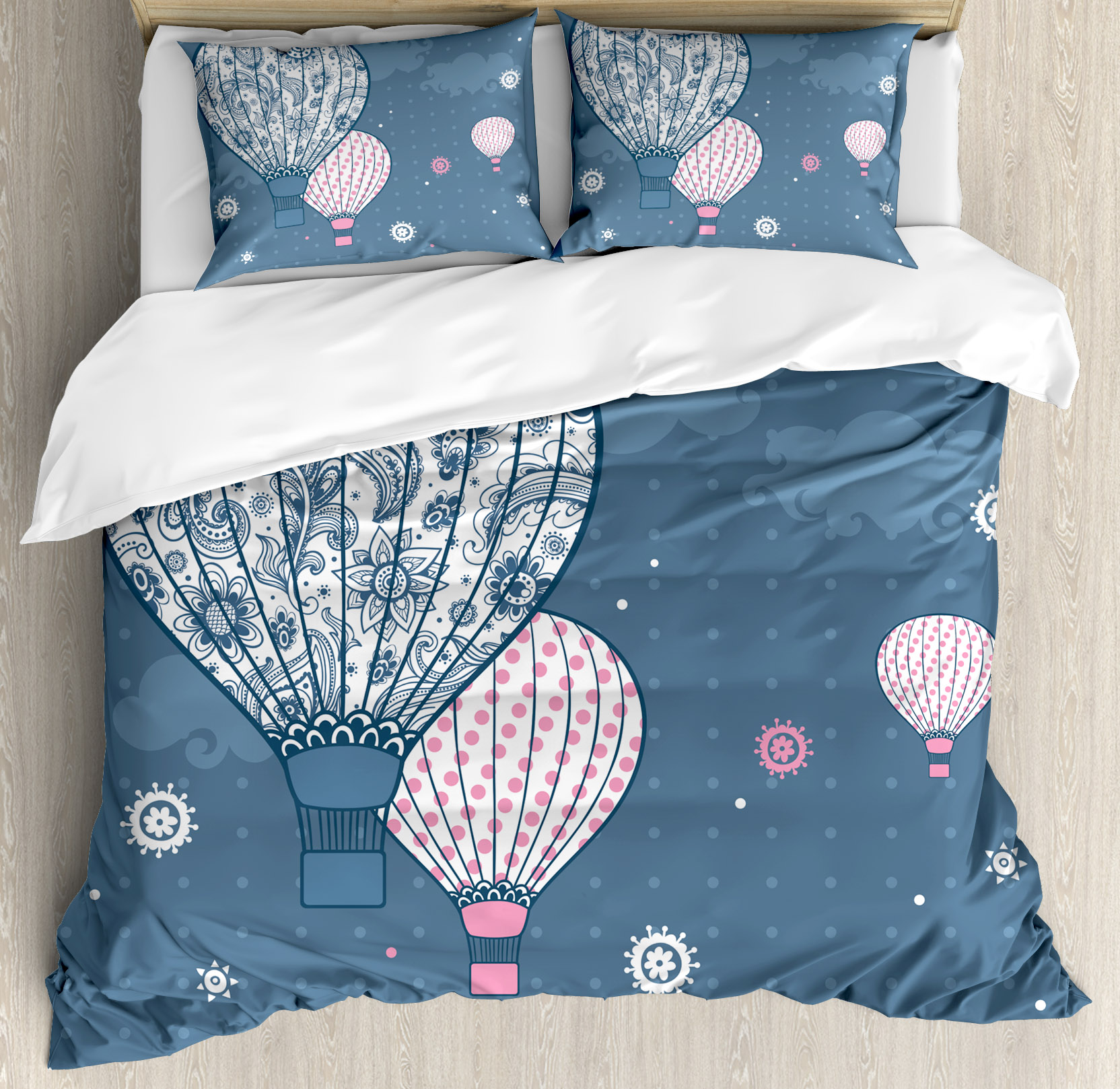 Retro Queen Size Duvet Cover Set, Air Balloons on Polka Dots and Indian Ethnic Paisley Ornaments Art Print, Decorative 3 Piece Bedding Set with 2 Pillow Shams, Slate Blue Light Pink, by Ambesonne