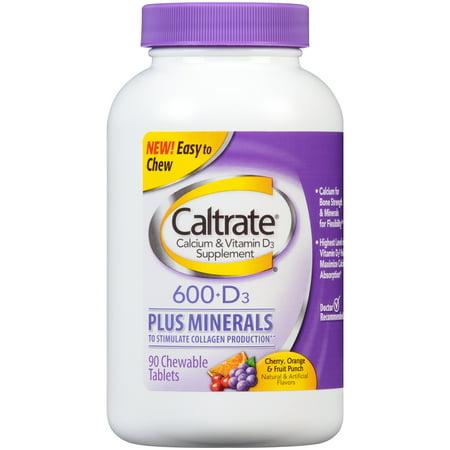 Caltrate Le calcium et la vitamine D3 Supplément 600 + D3 Plus Minéraux comprimés à croquer - 90 CT