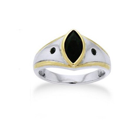 Sterling Silver 100 Magic - Magic of the Night - Marquise Black Spinel Sterling Silver and Gold Edged Ring