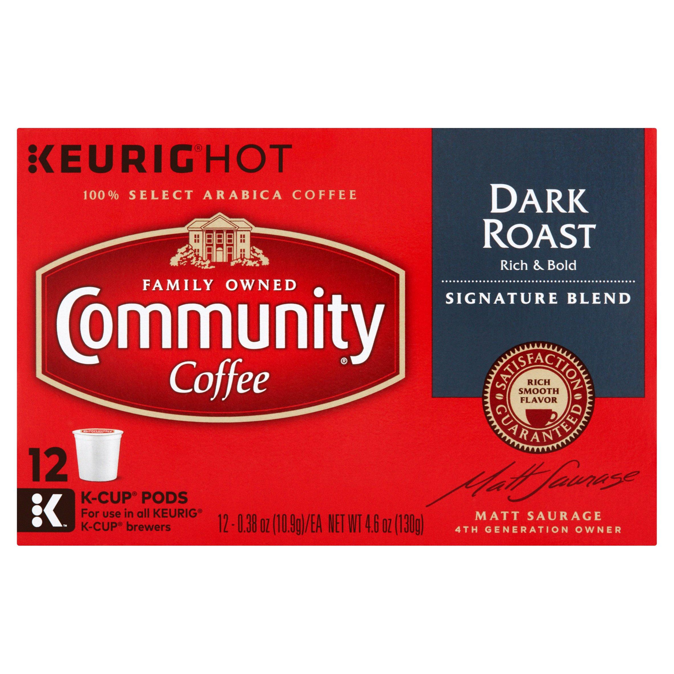 Community Coffee Single-Serve Cups Signature Blend Dark Roast Coffee, 12 Count