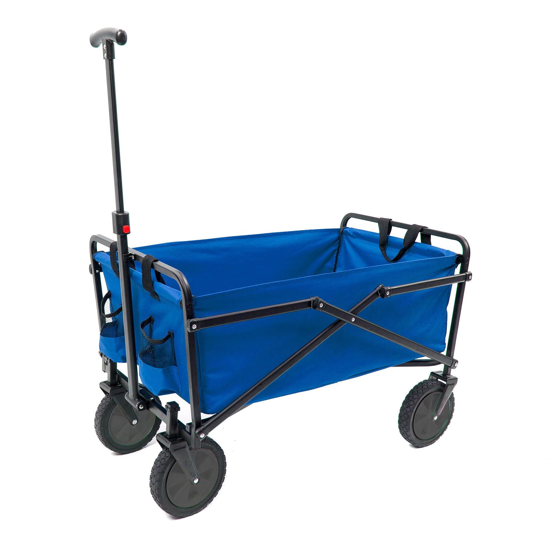 Seina Heavy Duty Compact Folding 150 Pound Capacity Outdoor Utility Cart, Blue