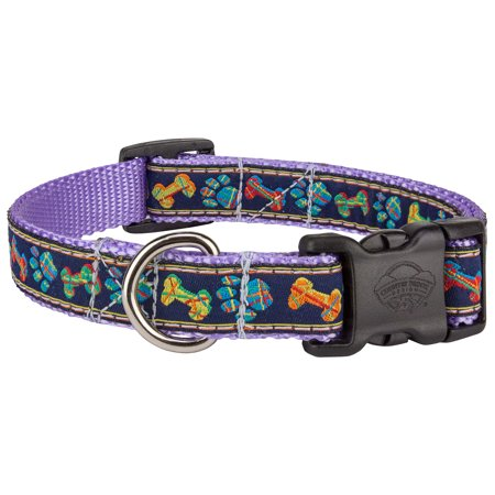 Country Brook Petz™ Deluxe Plaid Bones And Paws Woven Ribbon on Lavender Dog Collar Limited Edition
