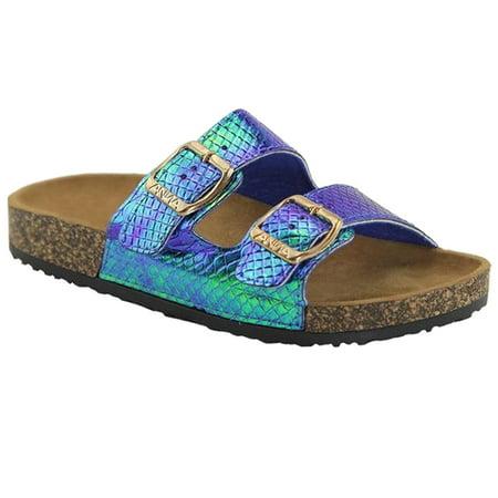 Women's Glitter Solid Double Strap Cork Sole Slide Sandals (FREE