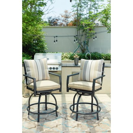 Outdoor Patio High Swivel Bistro Chair Set with Seat and Back Cushions (2-Pack) ()