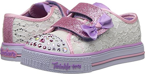 Skechers Kids Womens Shuffles - Sweet Steppers 10897N Lights (Toddler/Little Kid) White/Silver/Pink 10 Toddler M