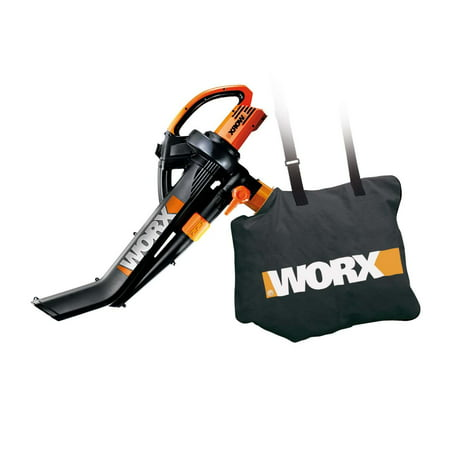 WORX WG509 Electric TriVac Blower/Mulcher/Vacuum & Metal Impellar Bag and Strap ()