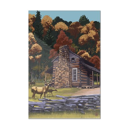 Deer Family   Cabin   Lantern Press Poster  8X12 Acrylic Wall Art Gallery Quality