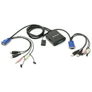 IOGEAR 2PORT USB CABLE KVM SWITCH W/ AUDIO & MIC W/BUILT-IN BONDED CABLE
