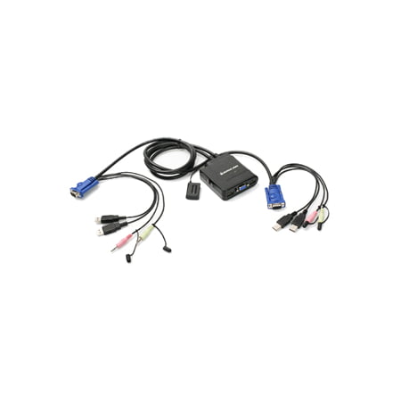 2PORT USB CABLE KVM SWITCH W/ AUDIO & MIC W/BUILT-IN BONDED