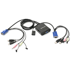 2PORT USB CABLE KVM SWITCH W/ AUDIO & MIC W/BUILT-IN BONDED CABLE