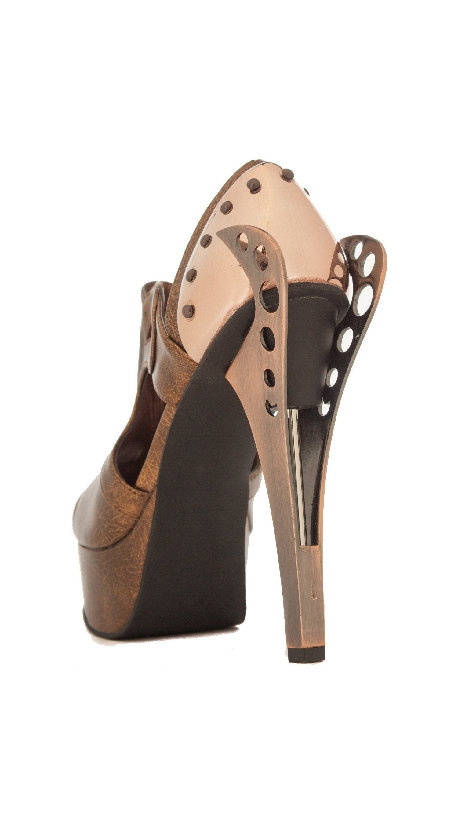 H-CATTEAU 5 height with platform sandals mixing Victorian design 10 / Brown