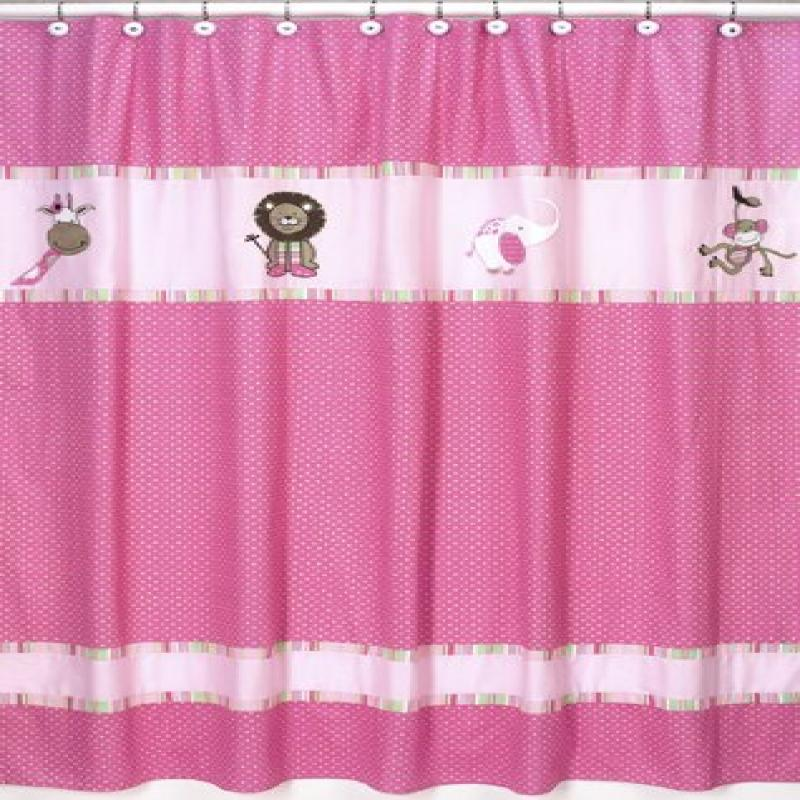 Pink and Green Jungle Friends Kids Bathroom Fabric Bath Shower Curtain by Sweet Jojo... by