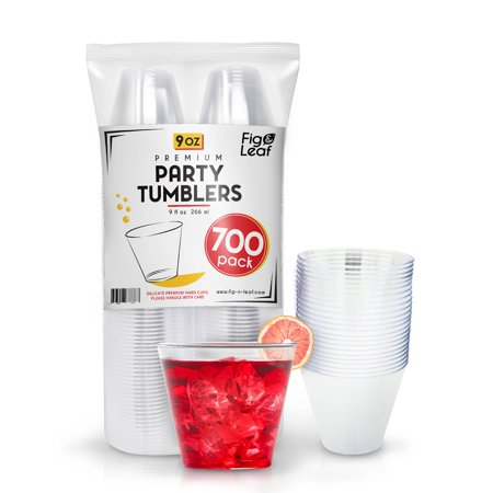(700 Pack) Premium Hard Plastic 9 OZ Party Cups l Old Fashioned Tumblers 9-Ounce l Crystal Clear Sturdy Disposable Tumbler Glasses Reusable Durable Cup l Top Choice for Catering Wedding Birthday Event