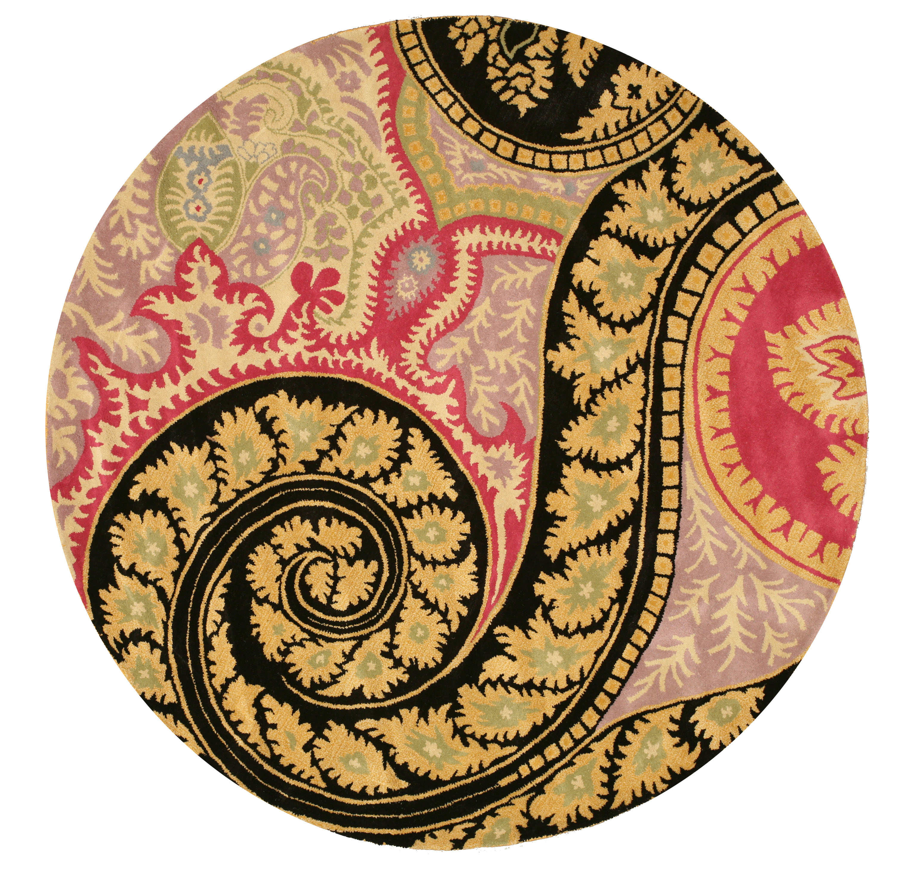 Hand-tufted Wool Black Contemporary Abstract Paisley Rug