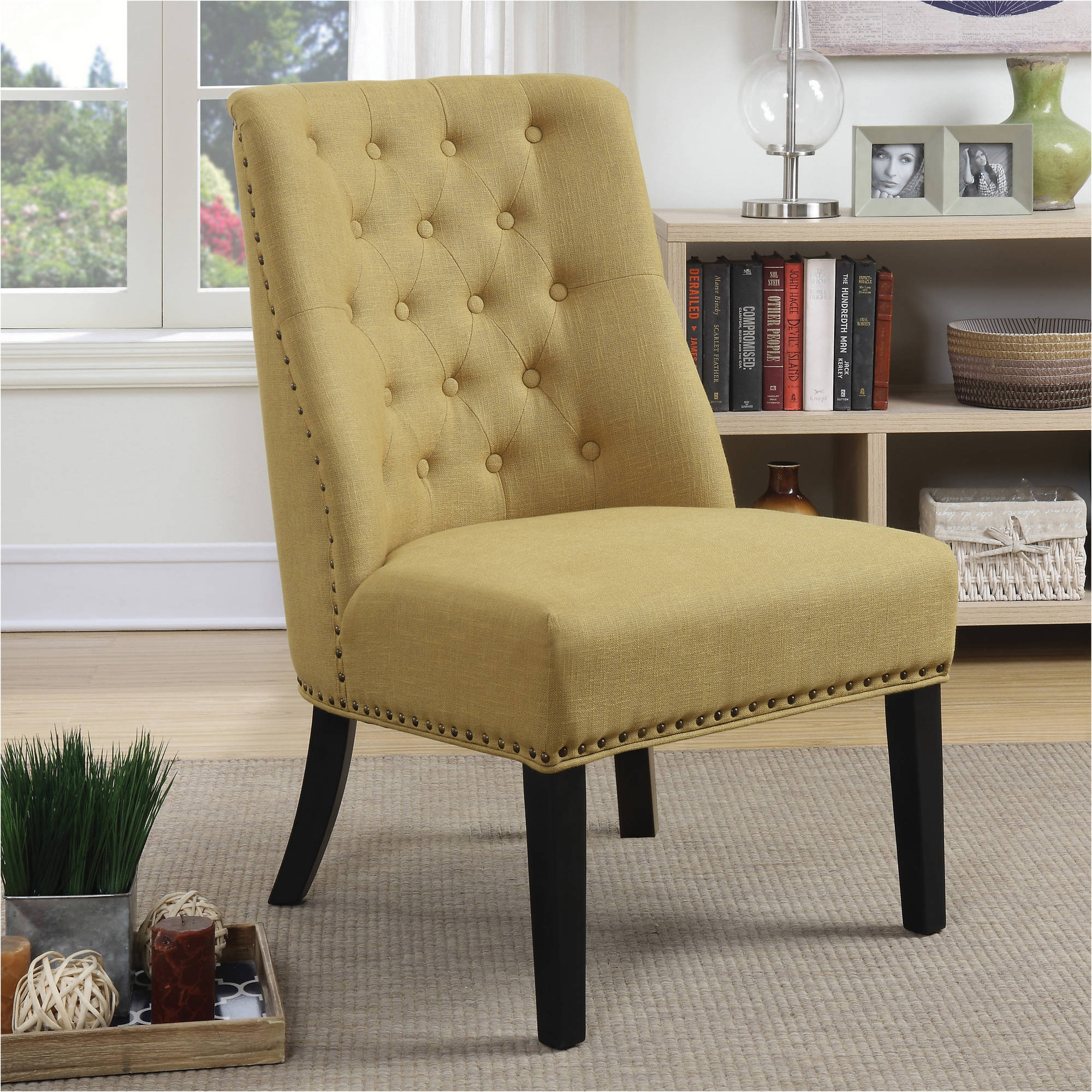 Coaster Accent Chair, Yellow Linen-Like Fabric
