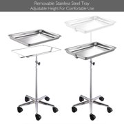 "Adjustable Heigh Mobile Mayo Tray Stand w/ Removable Tray 19x13x2"" Trolley Medical Doctor Salon Equipment"