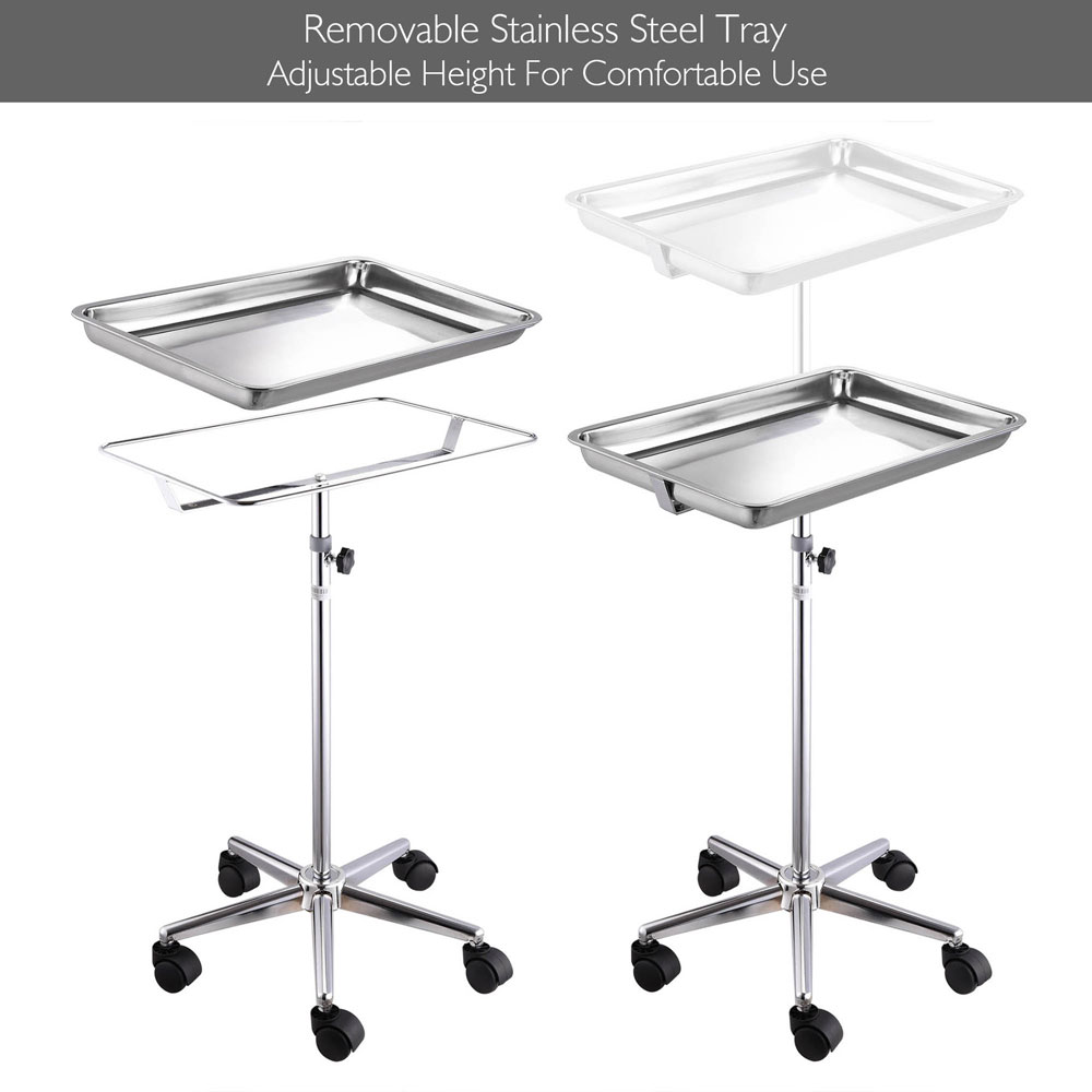 """Adjustable Heigh Mobile Mayo Tray Stand w/ Removable Tray 19x13x2"""" Trolley Medical Doctor Salon Equipment"""