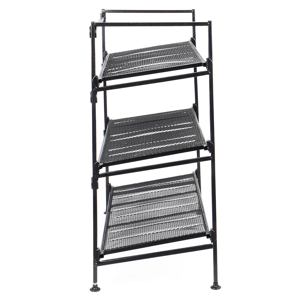 Shoe Storage Footstool Bench Rack Iron Mesh Utility Boot Organizer Entryway Black 3-Tier - SortWise™ - image 2 de 5