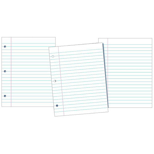 """School Smart 3-Hole Punched Filler Paper with Margin, 8"""" x 10.5"""", White, 200-Pack"""