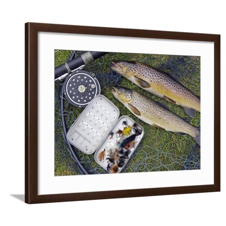 Two Fine Brown Trout Caught with Dapping Fly and Rod from a Boat on Loch Ba Framed Print Wall Art By John