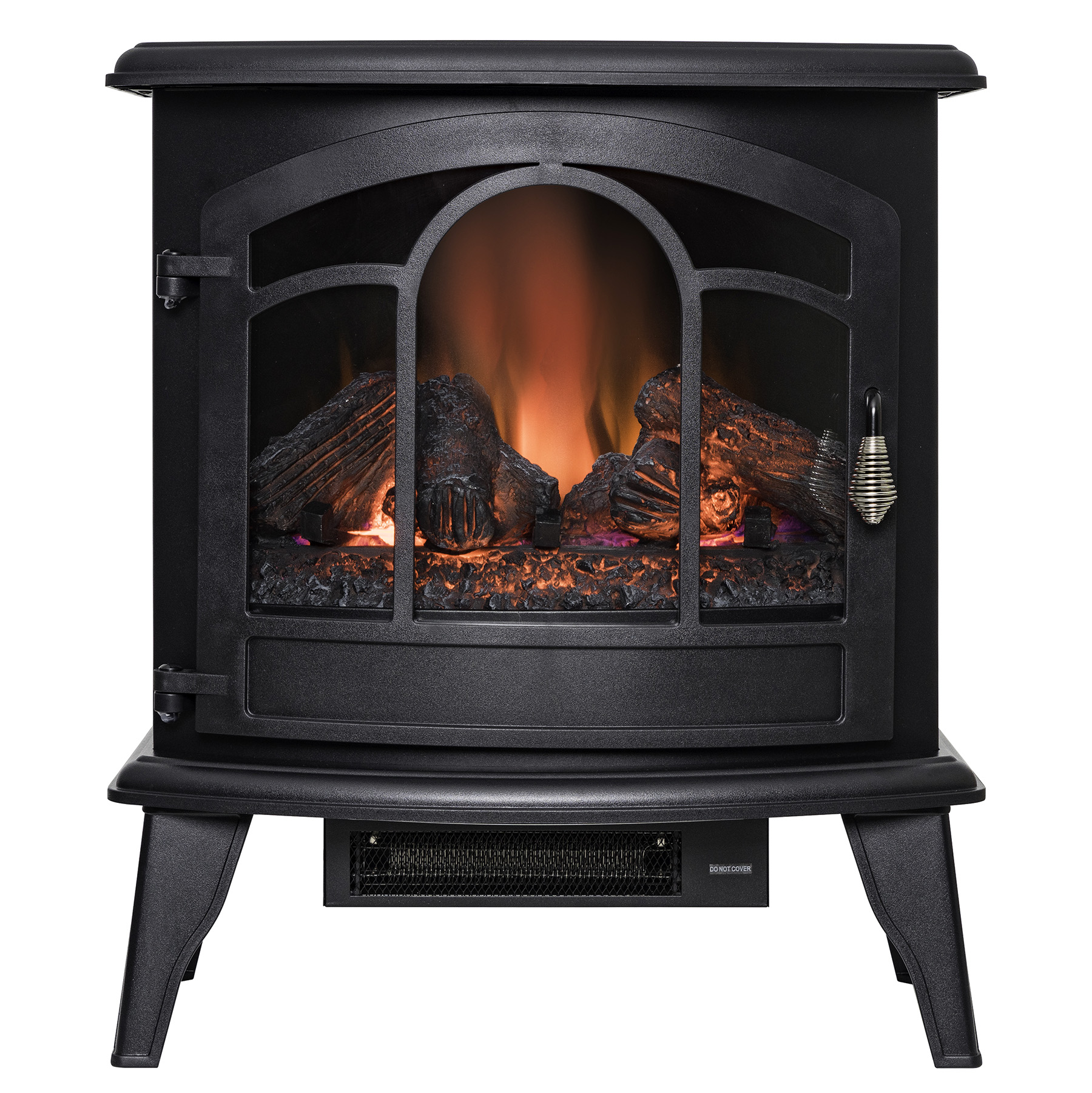 "AKDY FP0085 20"" Freestanding Portable Electric Fireplace Black 3D Flames Remote Logs Heater"