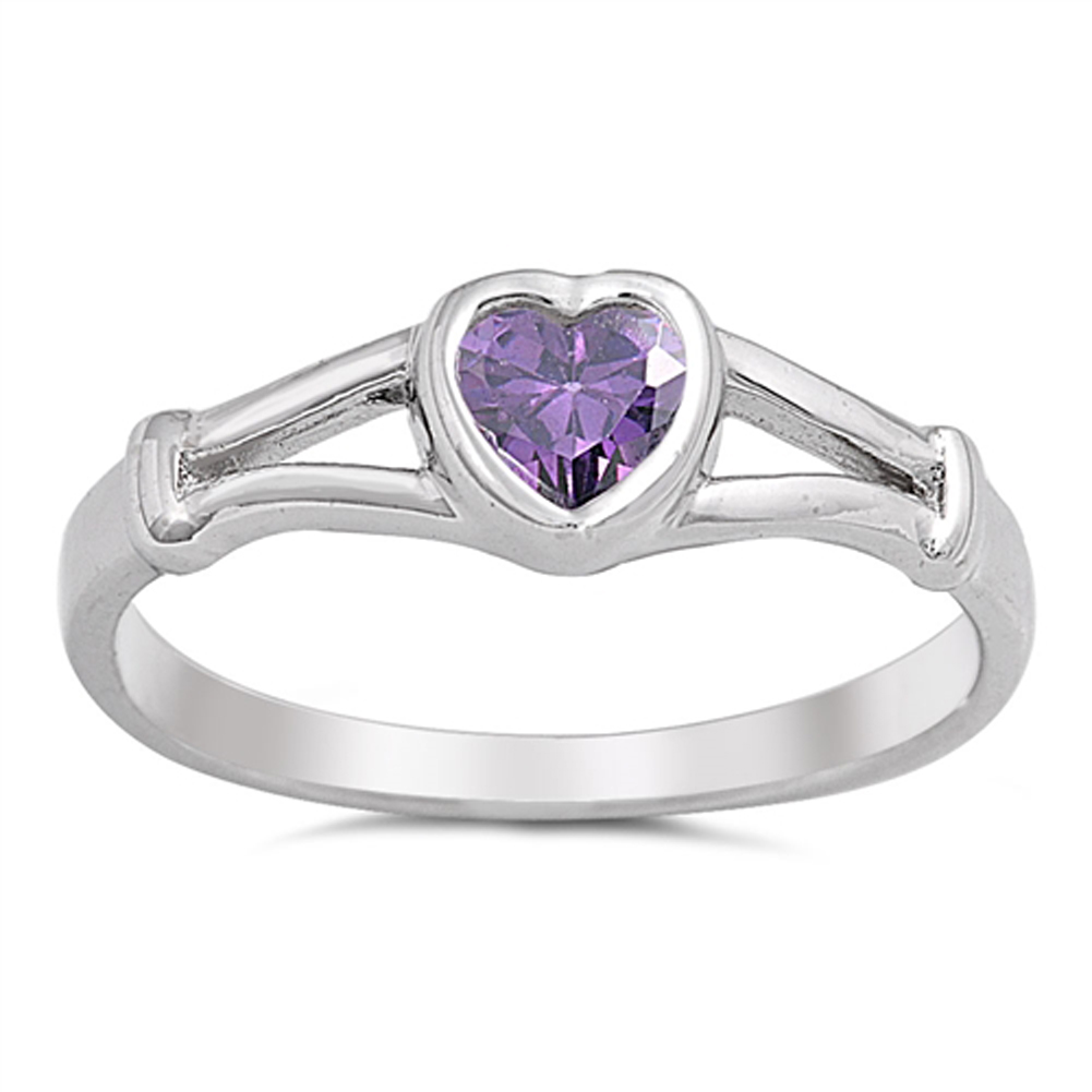 Simulated Amethyst Heart Promise Ring ( Sizes 1 2 3 4 5 ) New .925 Sterling Silver Band Rings by Sac Silver (Size 4) by