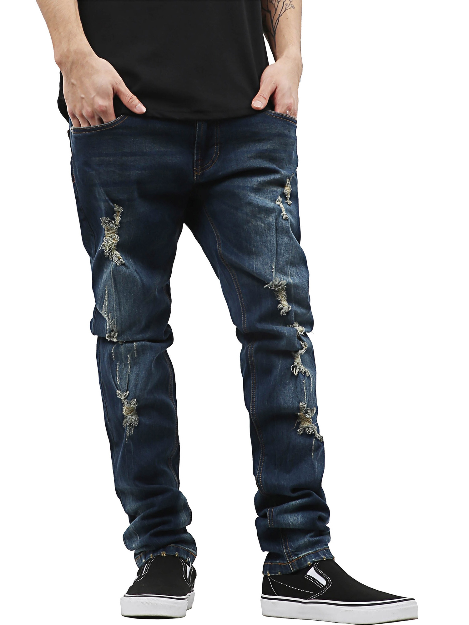 dcd28e35d59 Hat and Beyond - PI Mens Skinny Fit Stretch Jeans Distressed Ripped ...