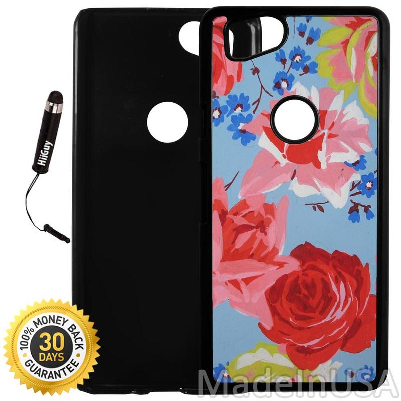 Custom Google Pixel 2 Case (Blue Floral Painting) Plastic Black Cover Ultra Slim | Lightweight | Includes Stylus Pen by Innosub
