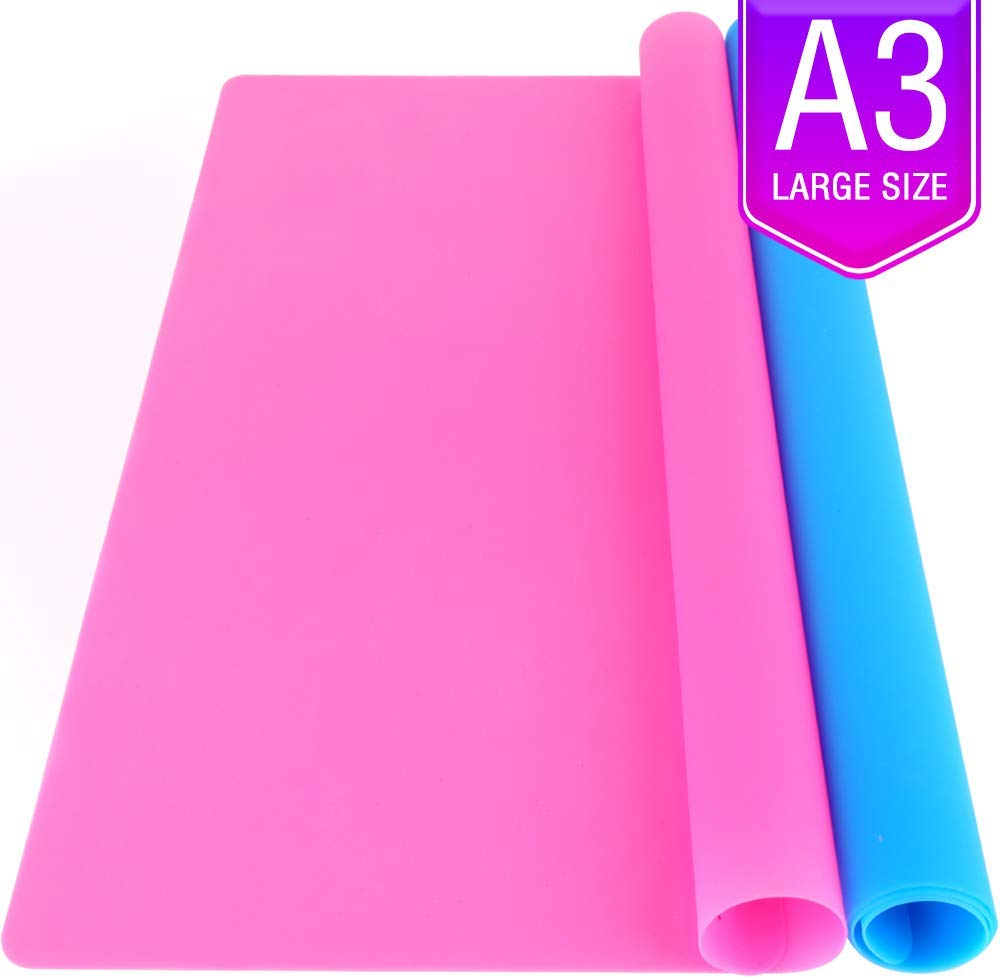 Coolmade 2 Pack A3 Extra Large Silicone Sheet for Crafts Jewelry Casting Moulds Mat, Premium Silicone Placemat, Multipurpose Mat, Nonstick Nonskid Heat-Resistant, Blue & Rose Red (15.7 x 11.7 inches) - Walmart.com