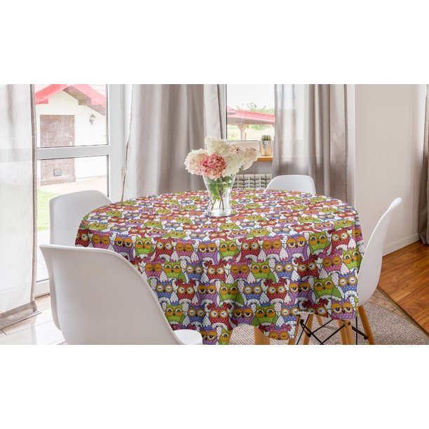 Owl Round Tablecloth Ornate Crowd With Different Sights Polka Dots Like Matryoshka Dolls Fun Retro Theme Circle Table Cloth Cover For Dining Room Kitchen Decor 60 Multicolor By Ambesonne Walmart Com