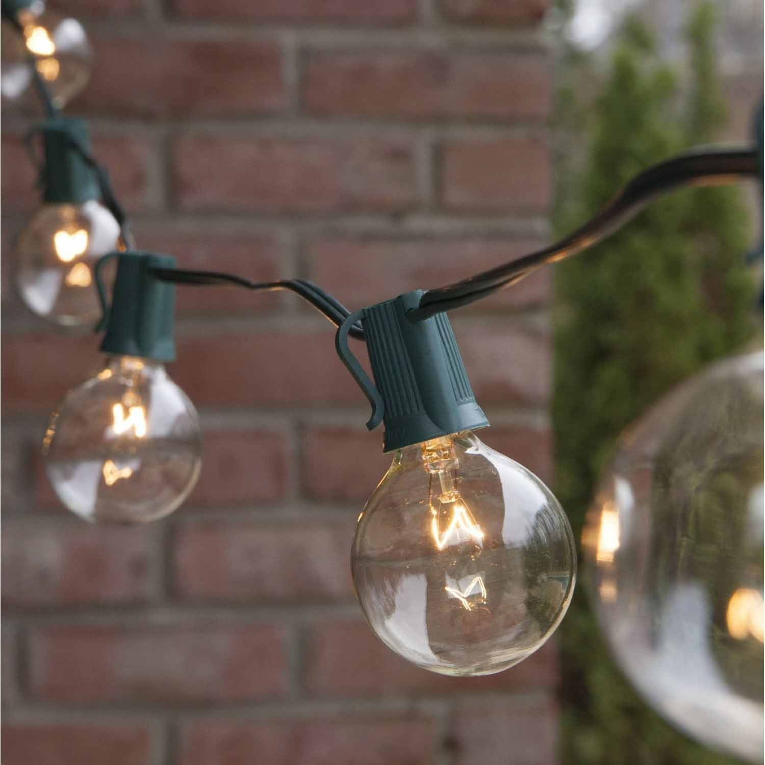 Brightech Ambience, Outdoor String Lights with 25 G40 Clear Globe ...