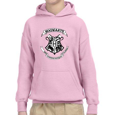 New Way 988 - Youth Hoodie Hogwarts Harry Potter Crest Unisex Pullover Sweatshirt Large Light Pink