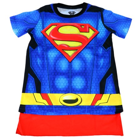 DC COMICS Superman Suit Up Youth Boy Sublimated With Cape  - Superman T Shirt With Cape