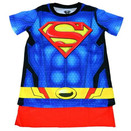 DC COMICS Superman Suit Up Youth Boy Sublimated With Cape  T-Shirt - Comic Suit