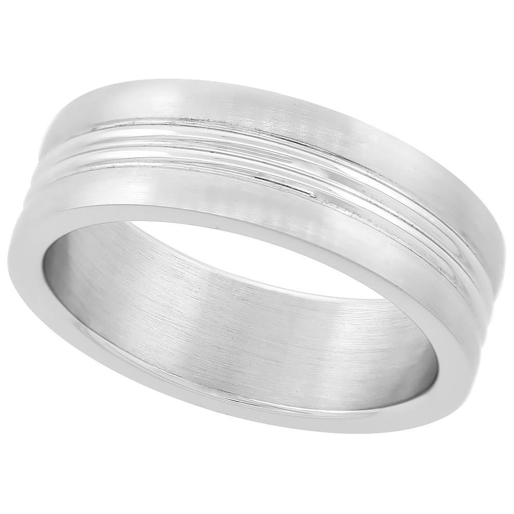 Surgical Steel High Polished Stripe Wedding Band Ring 7mm wide, sizes 8 - 14 with half sizes