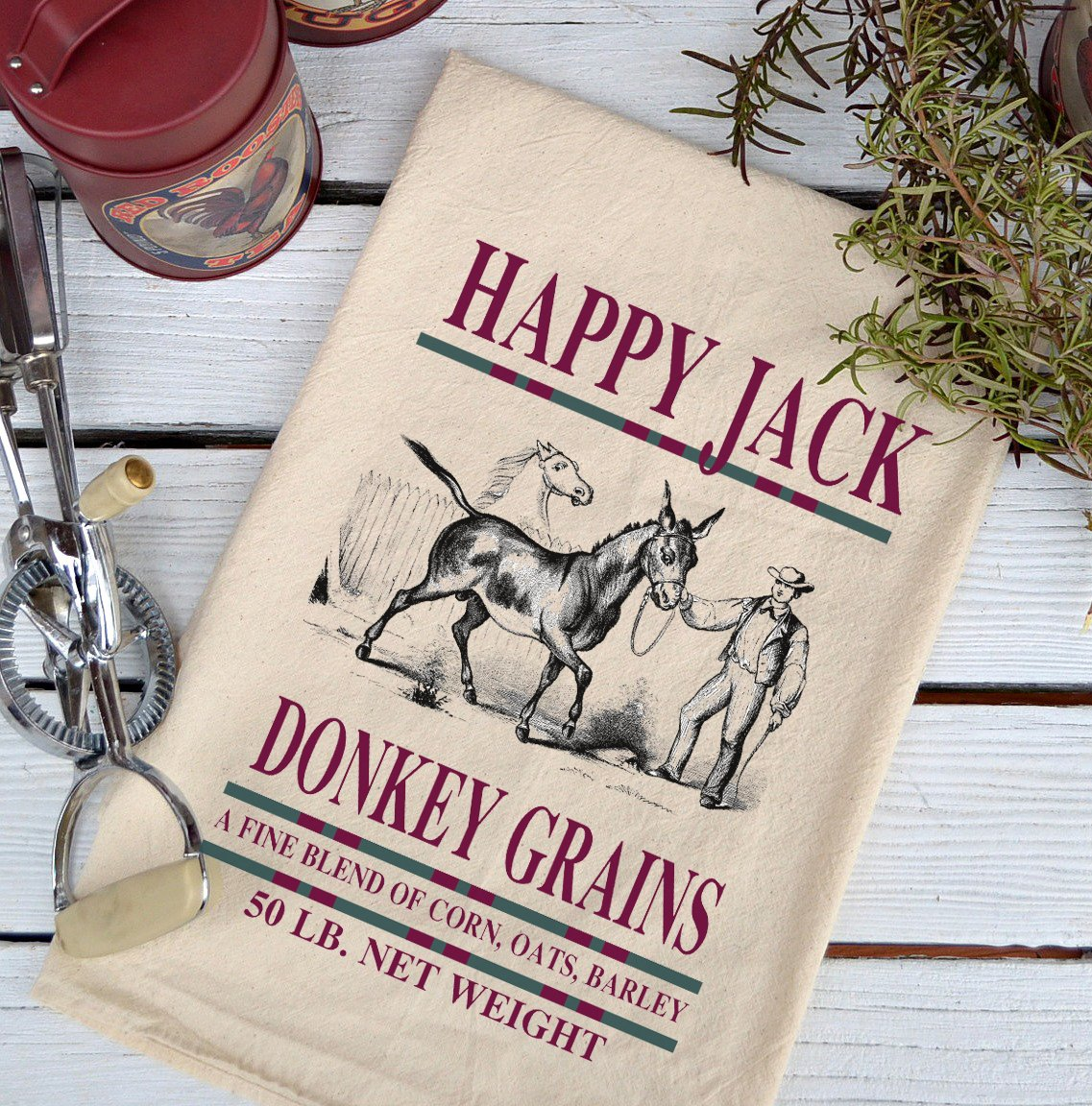 Farmhouse Natural Flour Sack Happy Jack Donkey Grains Country Kitchen Towel