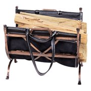 Uniflame Benton Bay Log Holder with Leather Carrier