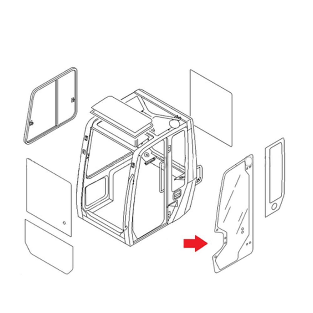 0378607403 Door Glass Made For Takeuchi Compact Excavator