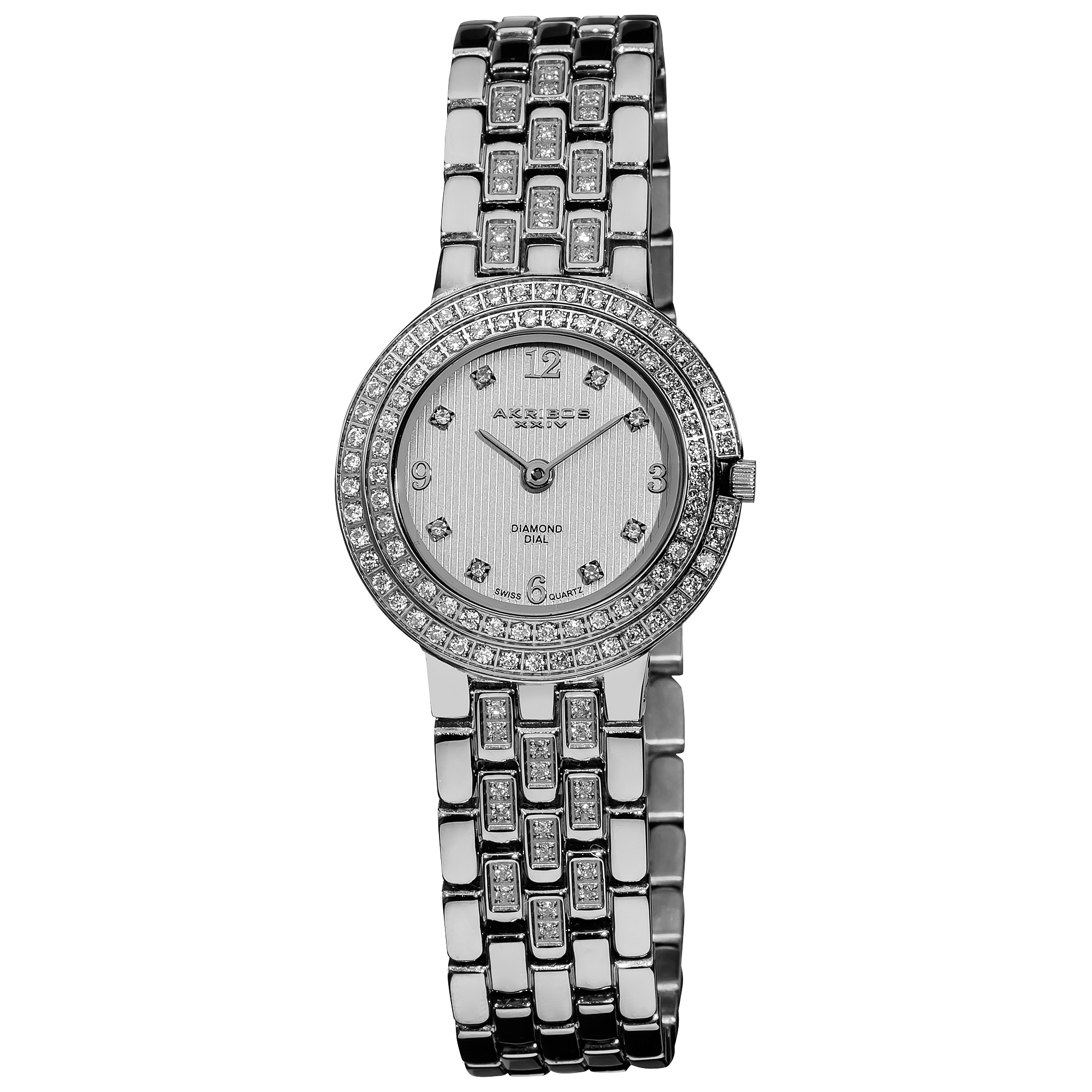 Akribos XXIV Women's Swiss Quartz Diamond Stainless Steel Silver-Tone Bracelet Watch