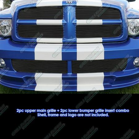 Compatible with 2004-2005 Dodge Ram SRT 10 Black Billet Grille Combo