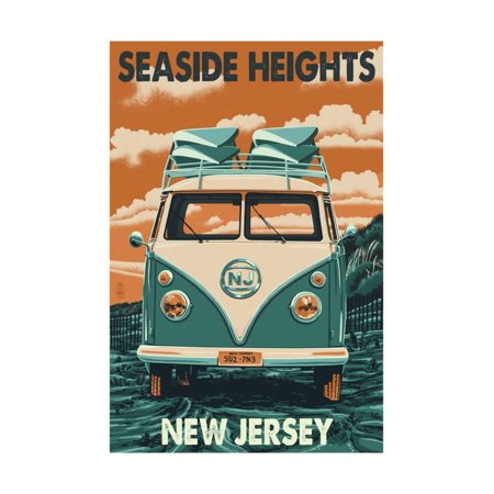 Seaside Heights, New Jersey - VW Van Print Wall Art By Lantern Press