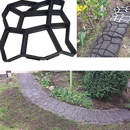 Garden Concrete Paving Stepping Stone Mold, Path Walk Maker Brick Mould, DIY Stone Road Concrete Molds for Garden Yard ()