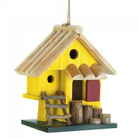 Wooden Birdhouses, Yellow Tree Fort Hanging Outdoor Rustic Decorative Bird