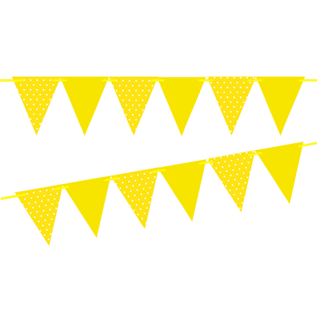 Yellow Polka Dot / Solid Yellow 10ft Vintage Pennant Banner Paper Triangle Bunting Flags for Weddings, Birthdays, Baby Showers, Events & Parties (Polka Dot Birthday Supplies)