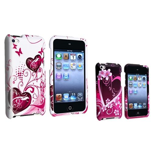 INSTEN White Pink+Purple Heart Hard Skin Case For Apple iPod Touch 4 4th Gen 4G