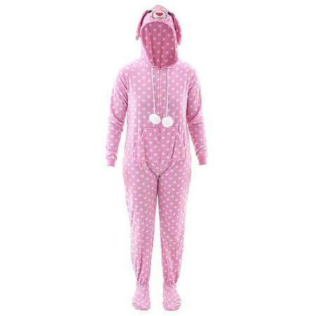Katnap Women's Pink Bunny Hooded Footed Pajamas (Bunny Pajamas)
