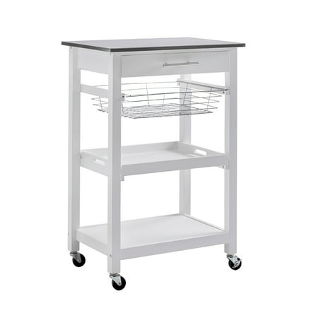 SJ Collection Linden Rolling Kitchen Island Cart Trolley on Wheels with Storage Shelf and Stainless Steel Top,